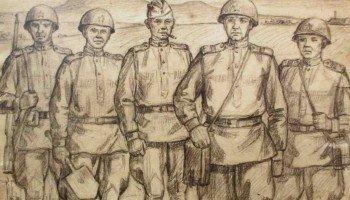 """""""Прошли огонь и воду"""". Маньчжурия, 20 августа 1945 года. Рисунок Б. Горлача."""